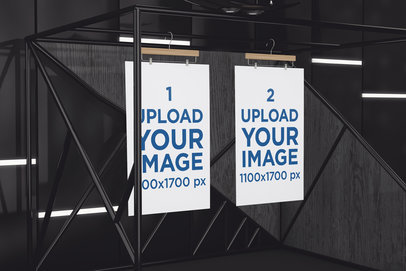 Mockup Featuring Two Posters Hanging from a Black Metal Structure 520-el