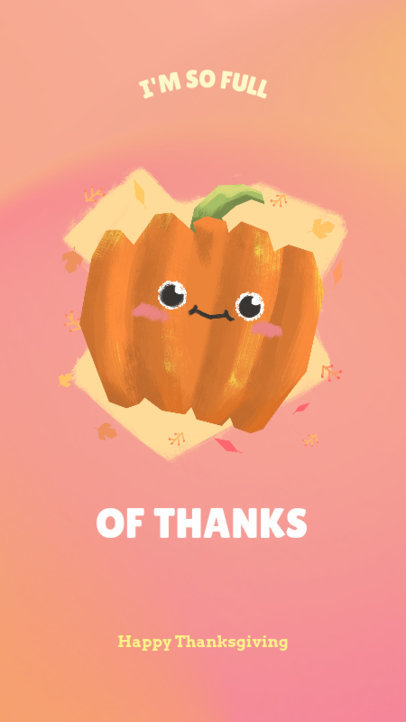 Thanksgiving Instagram Story Template Featuring a Cute Pumpkin Illustration 1044l