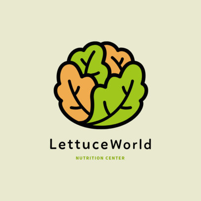 Nutritionist Logo Template Featuring a Simple Lettuce Illustration 2536b