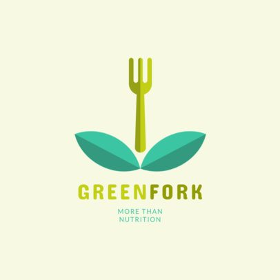 Nutritionist Logo Template Featuring a Fork Surrounded by Leaves 2536e