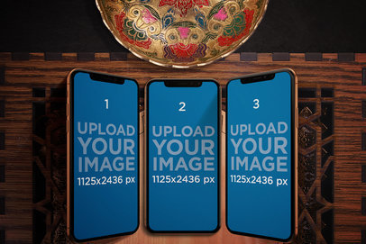 Mockup of Three iPhones X in an Arabic Setting 669-el