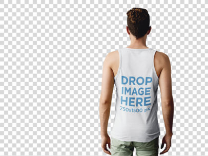 Back of a Man Wearing a Tank Top Mockup at a Photo Studio a9992b