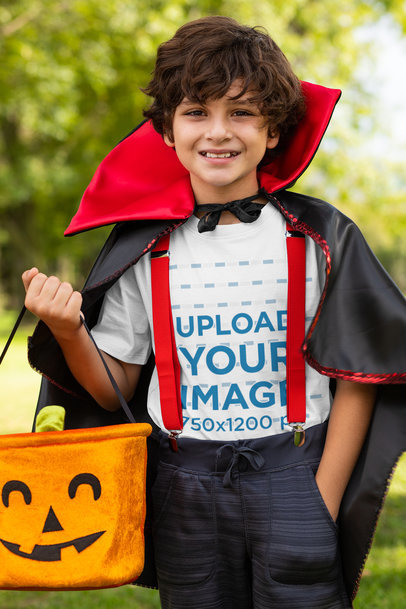 Mockup of a Boy Wearing a T-Shirt and a Vampire Costume 29289