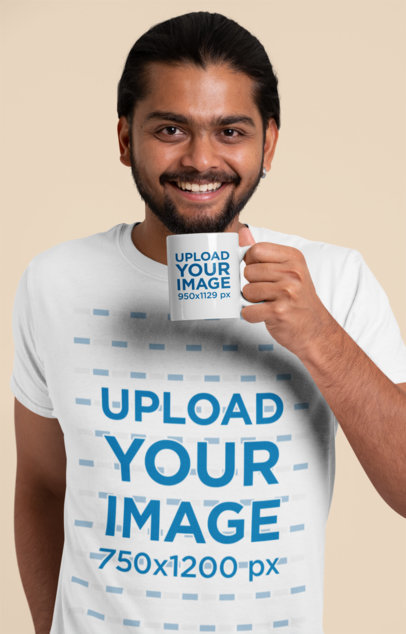 T-Shirt and Coffee Mug Mockup of a Smiling Man in a Studio 29115