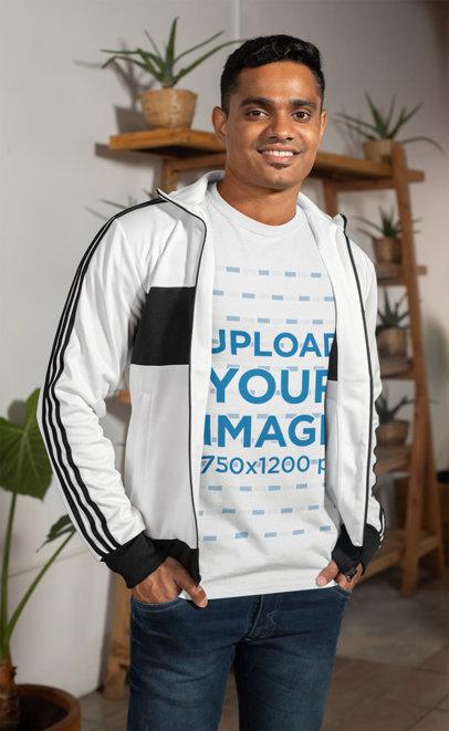 Mockup of a Man Wearing a T-Shirt Indoors 28958
