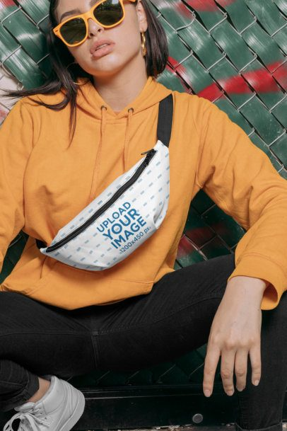 Mockup of a Woman Crouching with a Fanny Pack Around Her Body 29200