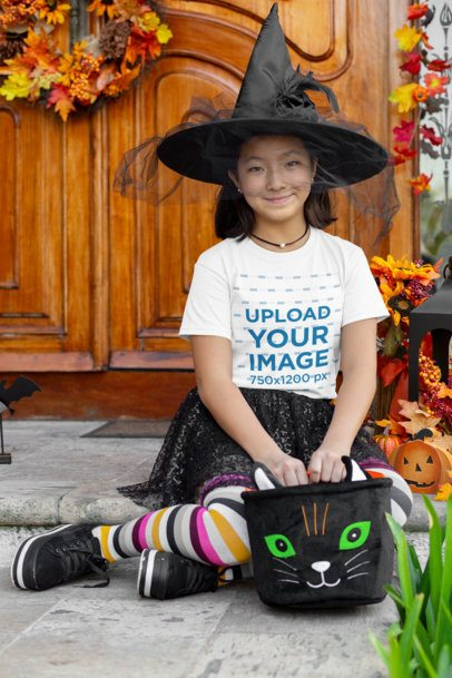 T-Shirt Mockup of a Girl Wearing a Witch Costume 29286