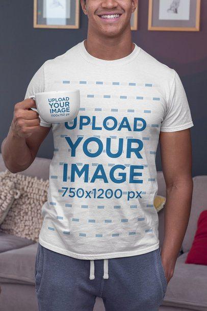 T-Shirt Mockup of a Man Having a Coffee in a 24oz Mug 29257