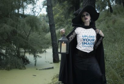 T-Shirt Mockup Featuring a Witch in the Woods 29332