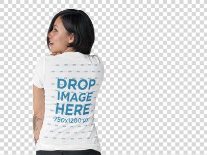Back View T-Shirt Mockup of a Tattooed Girl at a Photo Studio b10130