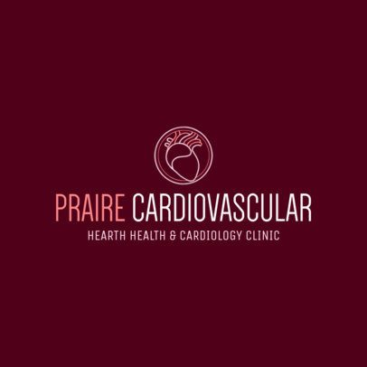Logo Template for a Cardiology Clinic with a Heart Icon 2508c