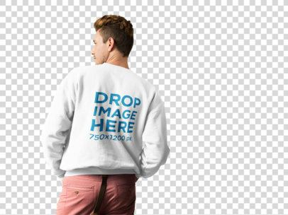 Blonde Dude Wearing a Crewneck Sweater Mockup from the Back Against a Transparent Backdrop a10005b