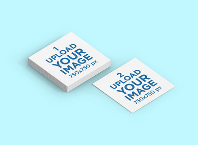 Mockup Featuring a Square Business Card Lying Next to a  Business Card Pack 286-el