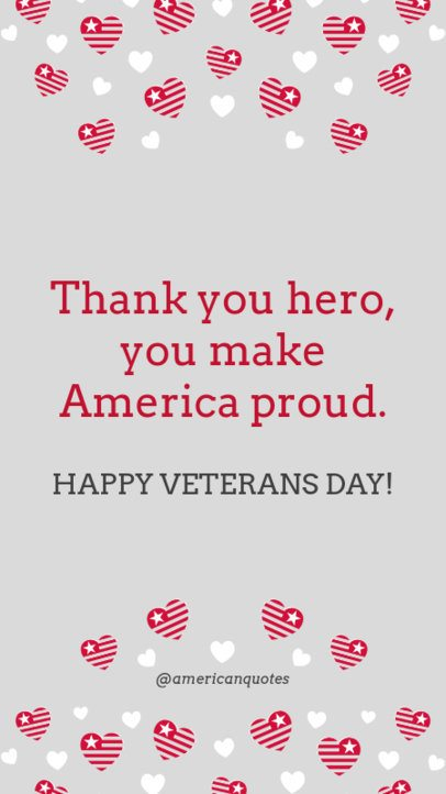 Veterans Day Instagram Story Template with American Hearts 1043g-1800