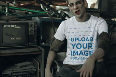 Mockup of a Man with Zombie Makeup Wearing a Crewneck T-Shirt 29336