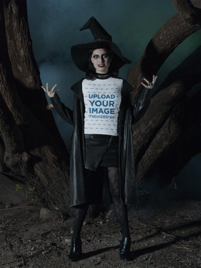 T-Shirt Mockup Featuring a Witch in a Haunted Forest 29328