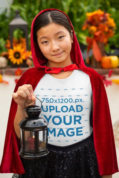 T-Shirt Mockup of a Girl with a Red Cape 29285