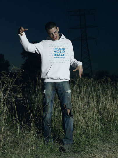 Pullover Hoodie Mockup Featuring a Man Characterized as a Zombie 29343