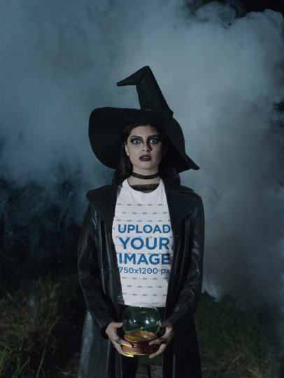 T-Shirt Mockup Featuring a Woman Wearing a Spooky Witch Costume 29329