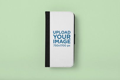 Mockup of a Wallet Case for iPhone X on a Flat Surface 29238