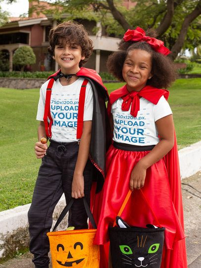 T-Shirt Mockup of a Two Kids Dressed in Halloween Costumes 29306
