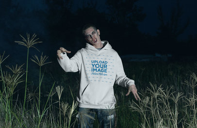 Pullover Hoodie Mockup of a Zombie Man in the Dark 29342