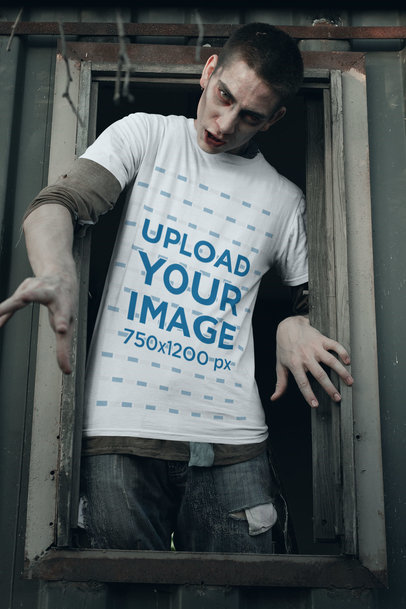 T-Shirt Mockup of a Zombie Coming out from a Window