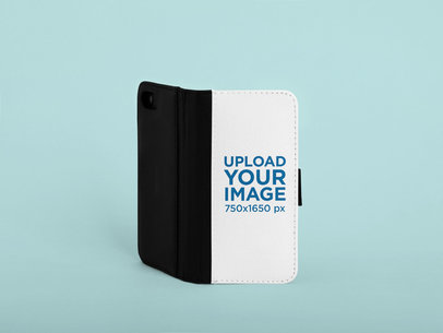 Mockup of an Opened Wallet Case for an iPhone 8  in a Studio