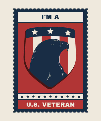 Veterans Day T-Shirt Design Maker Featuring an American Eagle Illustration 1813d