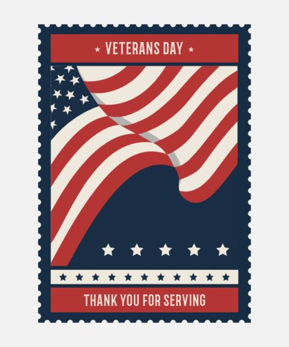T-Shirt Design Template for Veterans Day with a Waving American Flag Graphic 1813e