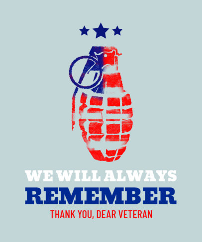 T-Shirt Design Maker with a Grenade Clipart for a Veterans Day