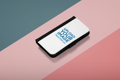 Mockup of a Wallet Case Placed over a Three-Colored Background 29218