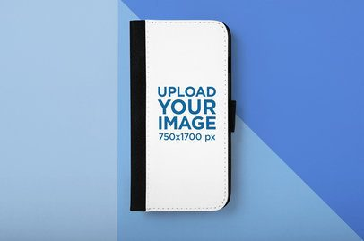 Mockup of a Wallet Case for an iPhone 7 Plus Lying over a Customizable Surface 29215