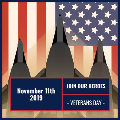 Instagram Post Design Template with a Veteran's Day Theme 1802
