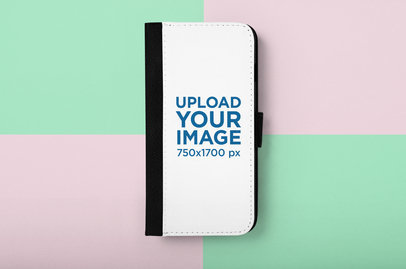 Mockup of an iPhone 7 Wallet Case Over a Multicolored Surface 29216