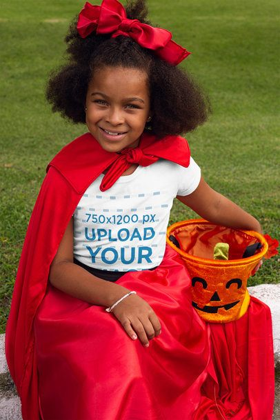 Mockup of a Girl Wearing a T-Shirt and Carrying a Pumpkin Bucket 29303