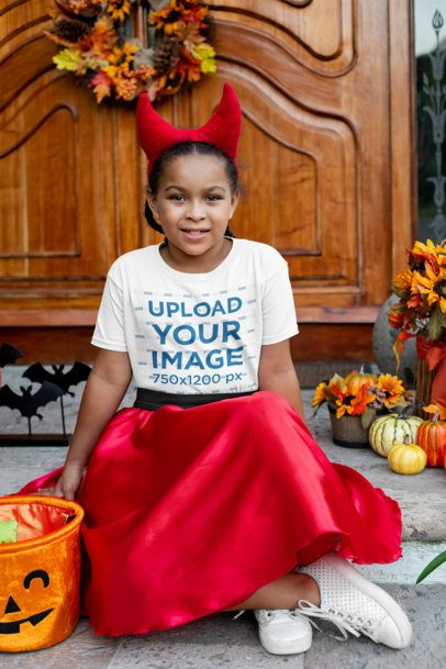 Halloween T-Shirt Mockup Featuring a Girl Wearing a Devil Horns Headband 29320