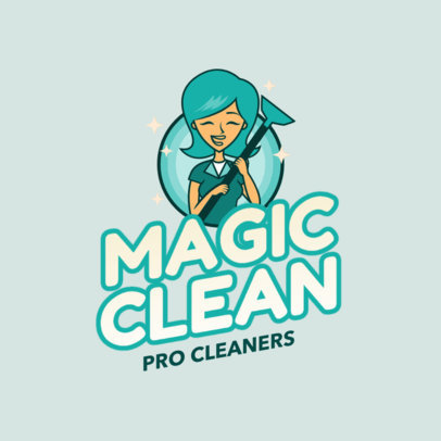Carpet Cleaning Logo Creator Featuring a Smiling Woman Illustration 2549c