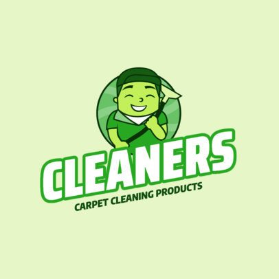 Logo Template for Carpet Cleaning Products Featuring a Smiling Man Graphic 2549g