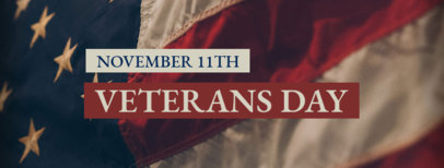 Minimal Veterans Day Facebook Cover Maker with a Flag in the Background 1803a