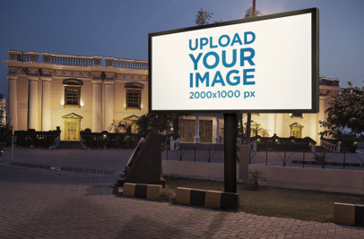 Billboard Mockup Featuring a Luxurious Building at Night 370-el