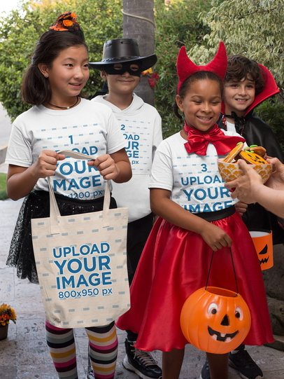 Halloween Mockup of Kids with T-Shirts and Tote Bags Asking for Trick or Treat 29323