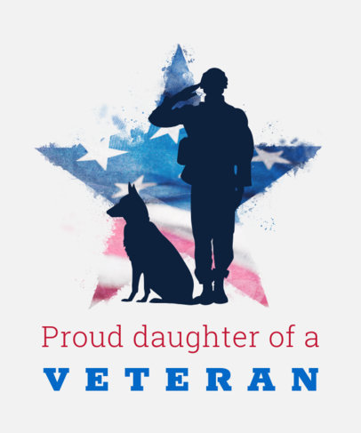 T-Shirt Design Maker for Veterans Day Featuring a Salutating Soldier and a Dog