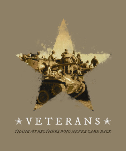 Veterans Day T-Shirt Design Maker with a War Image in a Star