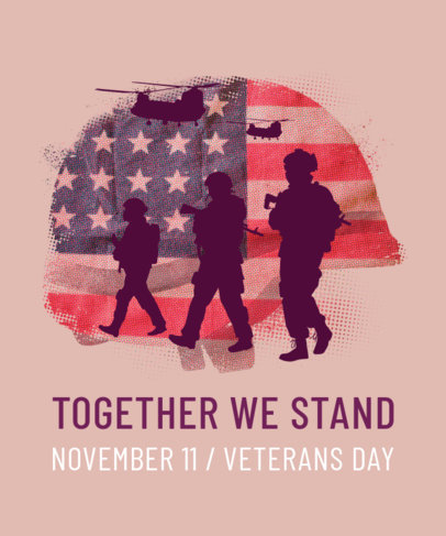 Veterans Day Commemorative T-Shirt Design Template 1815f