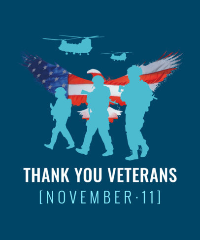 Veterans Day T-Shirt Design Template with Soldiers and Helicopter Silhouettes 1815h