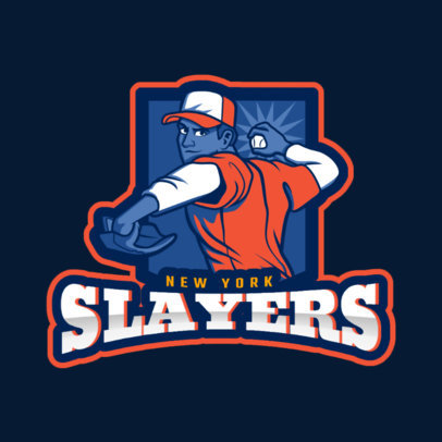 Sports Logo Generator for a Baseball Team Featuring a Pitcher Illustration 172u 2541
