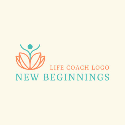 Life Coach Logo Template with a Lotus Flower 2552e