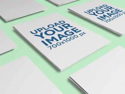 Letterhead Mockup Featuring Multiple Packs of Paper Sheets 350-el