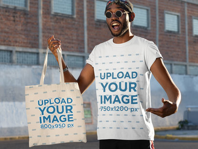 Tote Bag Mockup of a Trendy Man Wearing a Crewneck Tee 29435